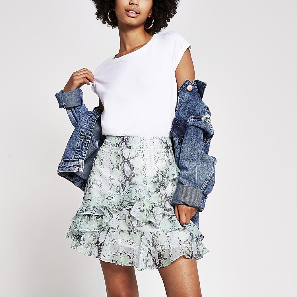 Green chiffon floral frill mini skirt