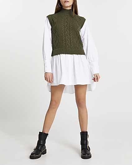 Green chunky cable knitted shirt dress