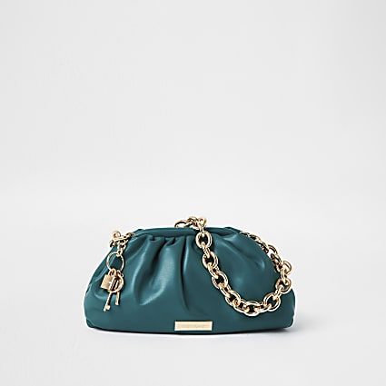 Green chunky chain ruched bag