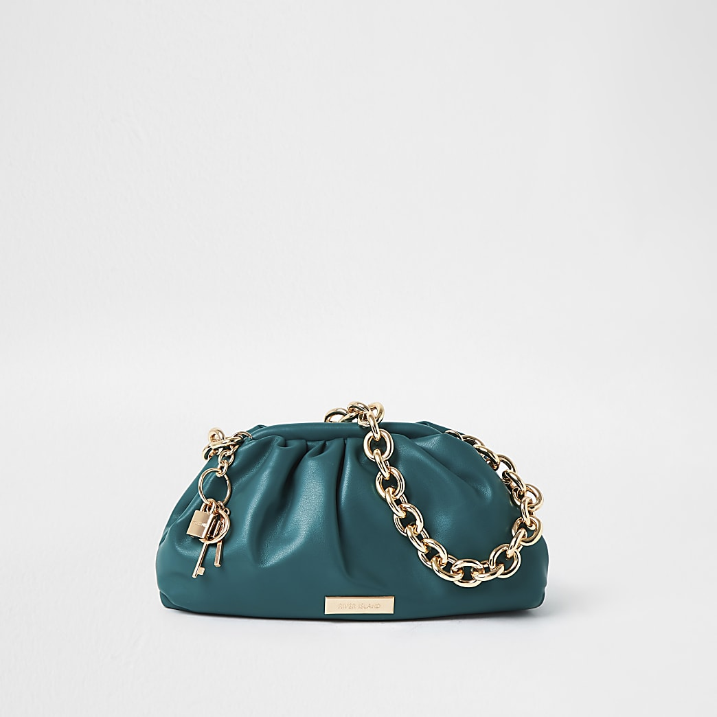 Green chunky chain ruched bag