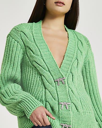 Green chunky knit cardigan