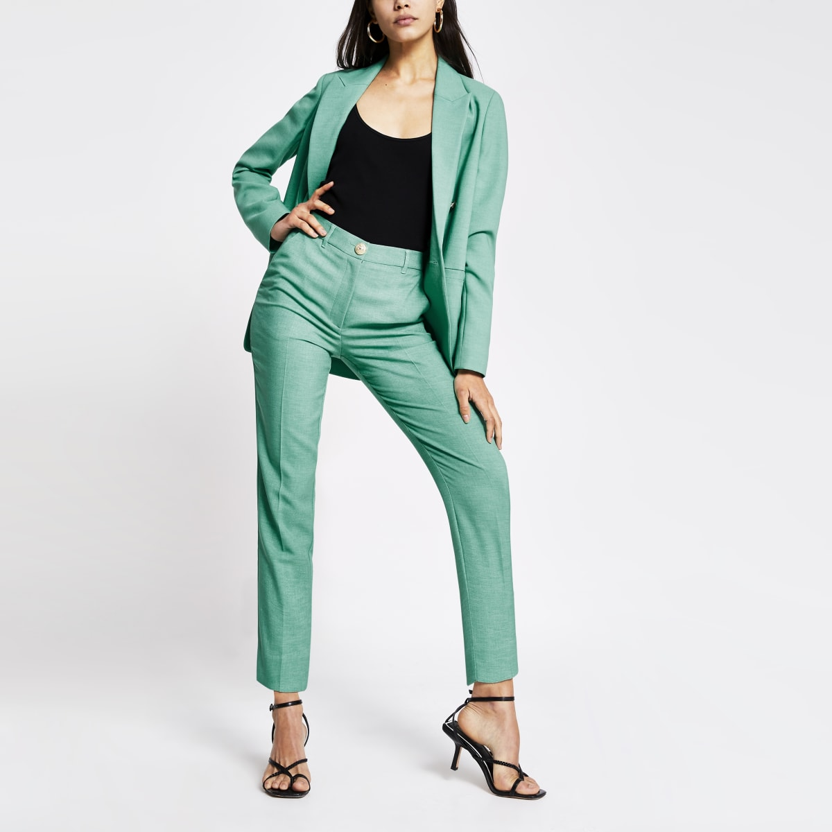Pantalon cigarette vert