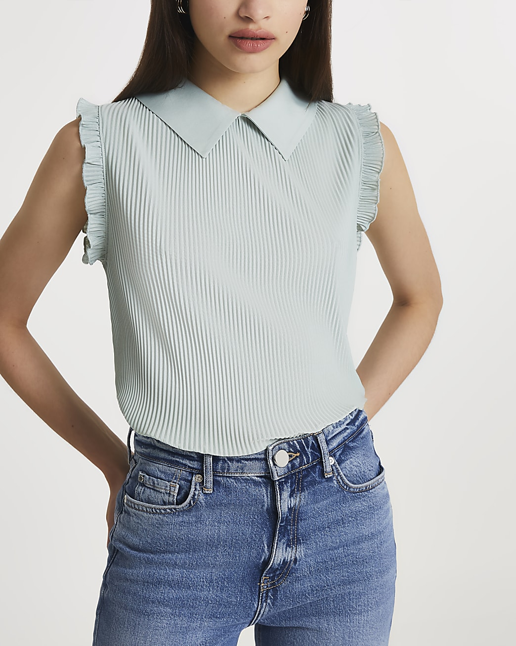 Green collar neck pleated blouse top