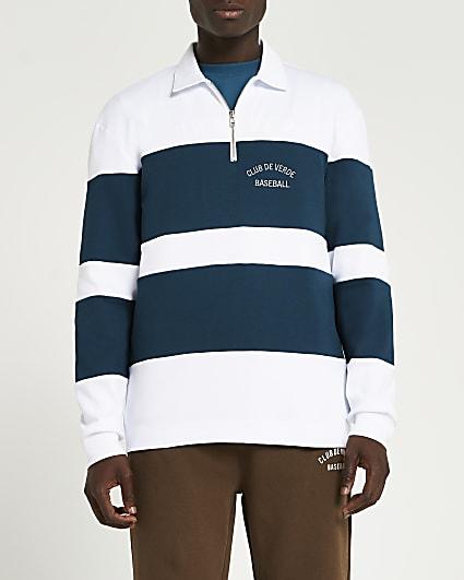 Green colour block long sleeve polo shirt