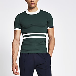 Green colour block muscle fit knit T-shirt