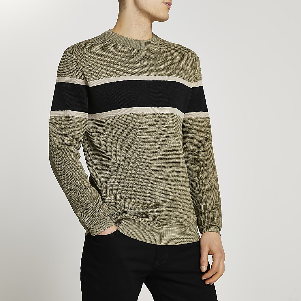 Green colour block slim fit jumper