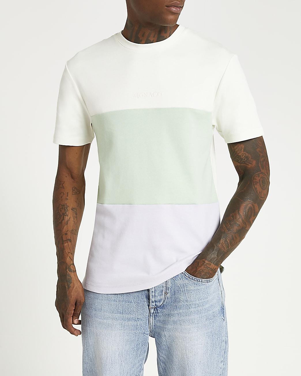 Green colour block slim fit t-shirt