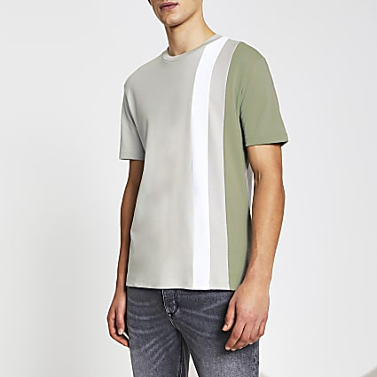Green colour block slim fit t-shirt