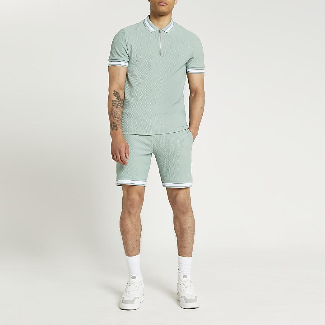 Green colour block textured shorts