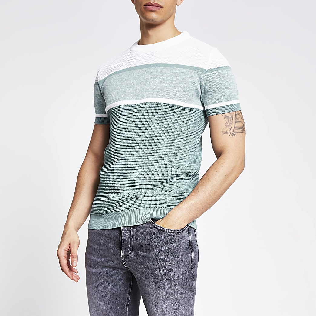 Green colour blocked slim fit knit T-shirt