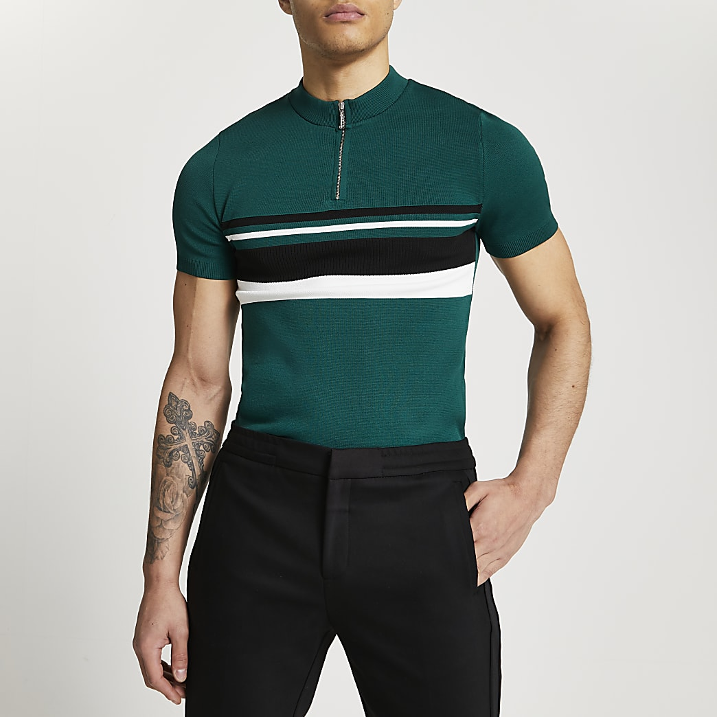Green colour bock half zip polo shirt