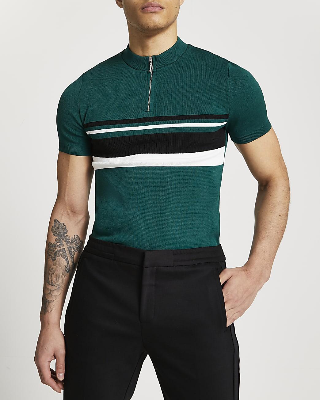 Green colour bock zip short sleeve polo shirt