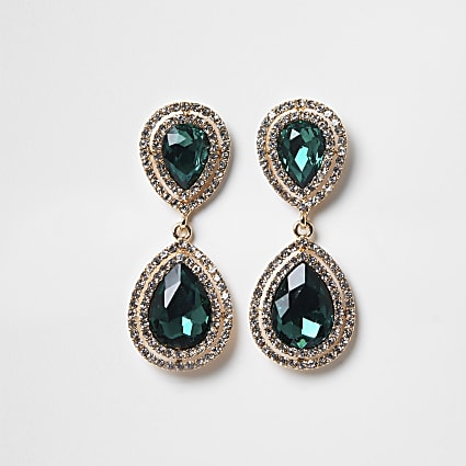 Green colour diamante teardrop earrings