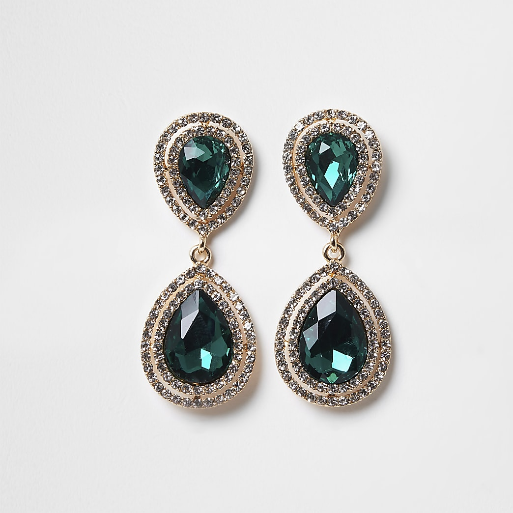 Green colour diamante teardrop earrings