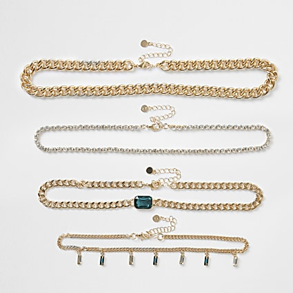 Green colour gold chain layered necklace