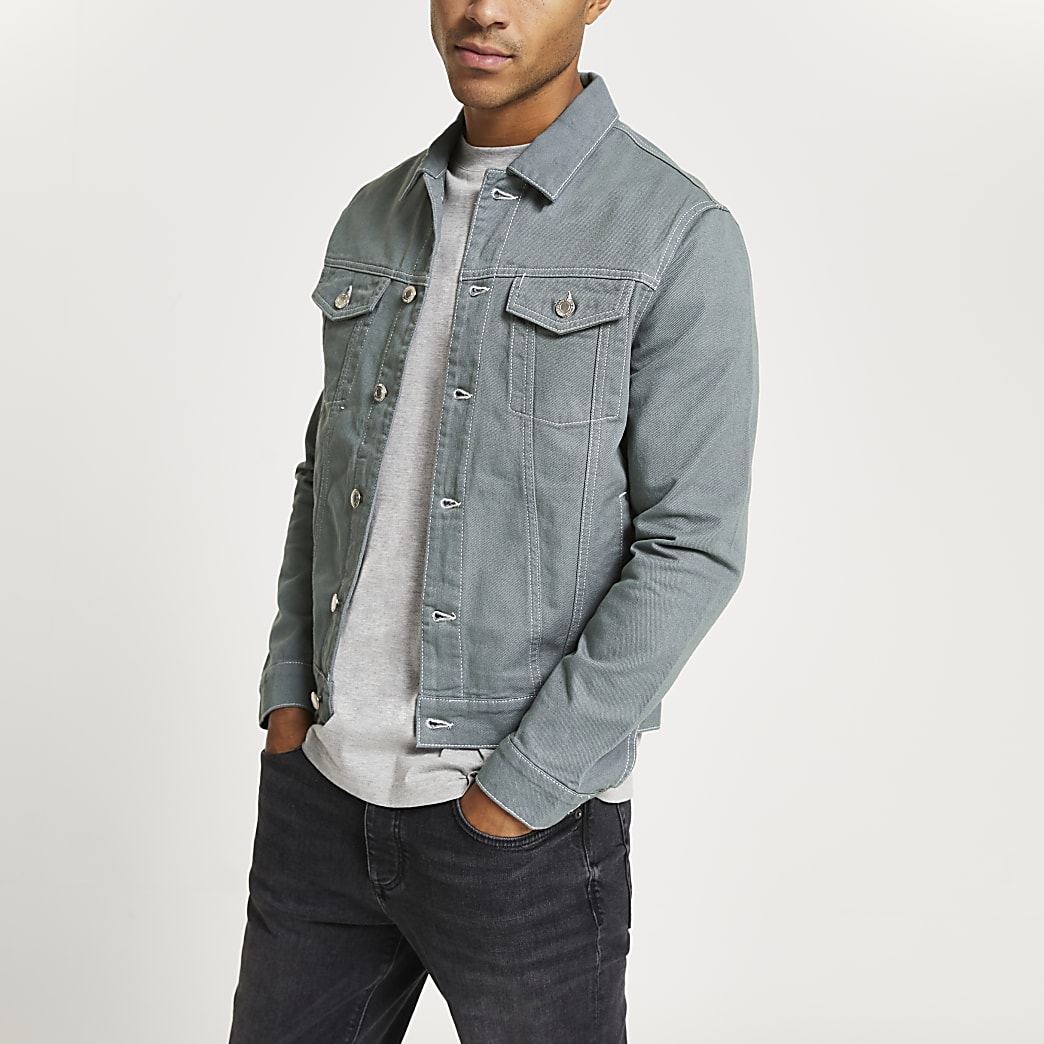 Green contrast stitch denim jacket