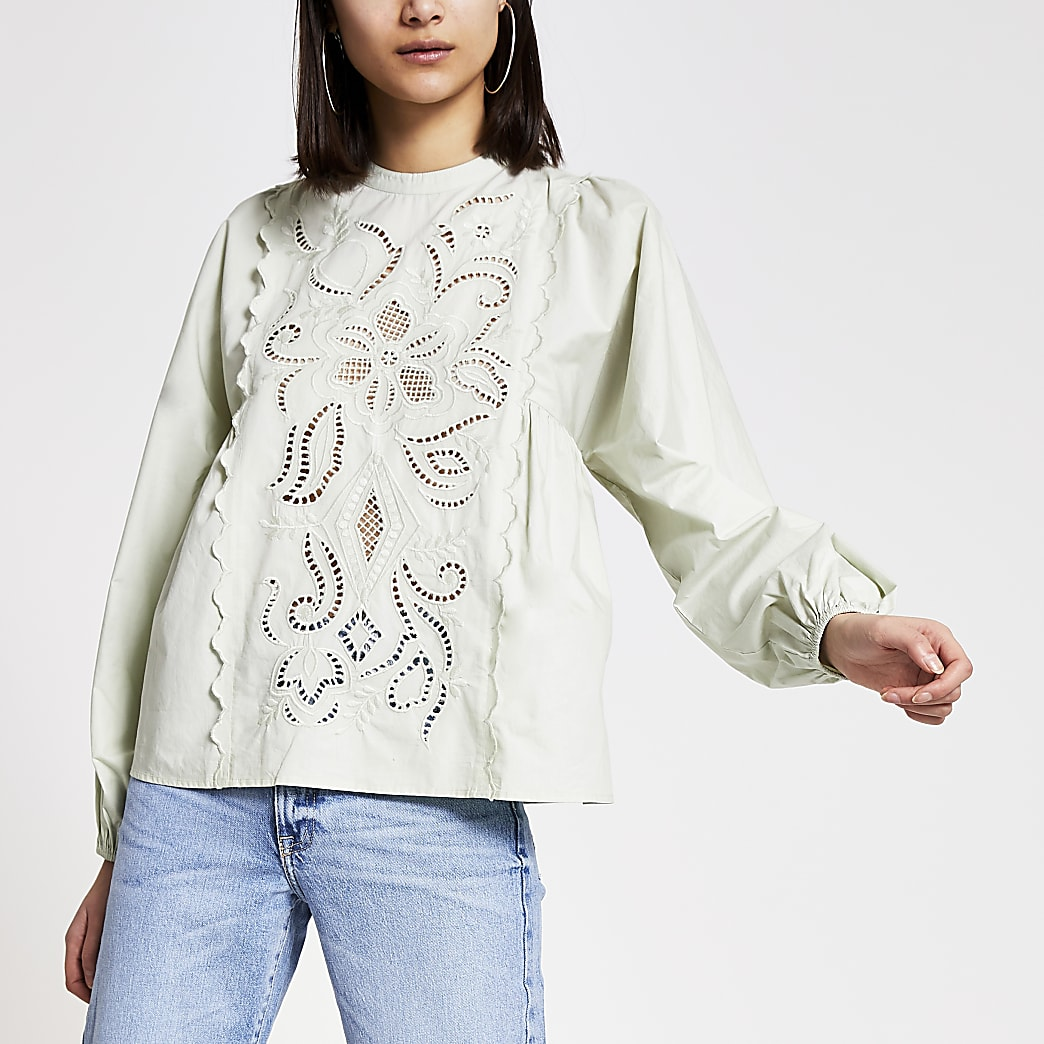 Green cutout embroidered long sleeve top
