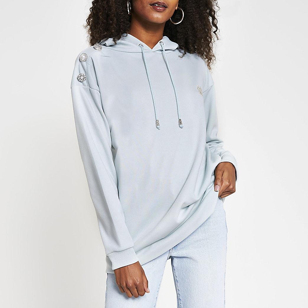 Green diamante button shoulder hoodie