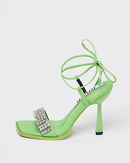 Green diamante embellished heels