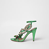 Green diamante snake strappy sandals