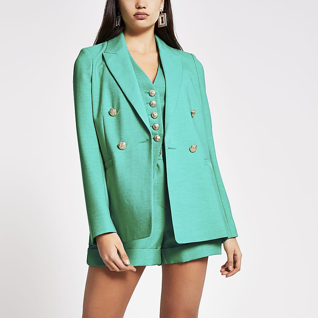 Groene double-breasted blazer