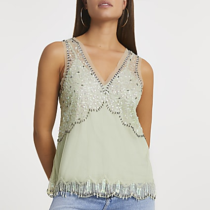 Green embellished vest
