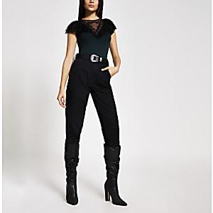 Green embroidered ruffle mesh bodysuit