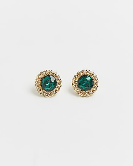 Green emerald stud earrings