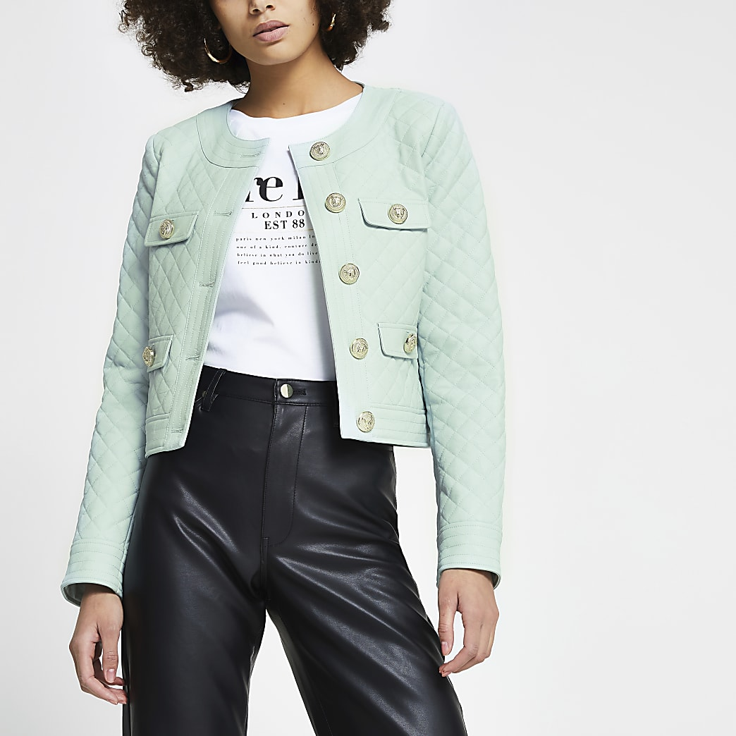 Green faux leather diamond quilted jacket