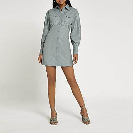 Green faux leather mini shirt dress