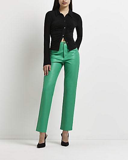 Green faux leather straight leg trousers