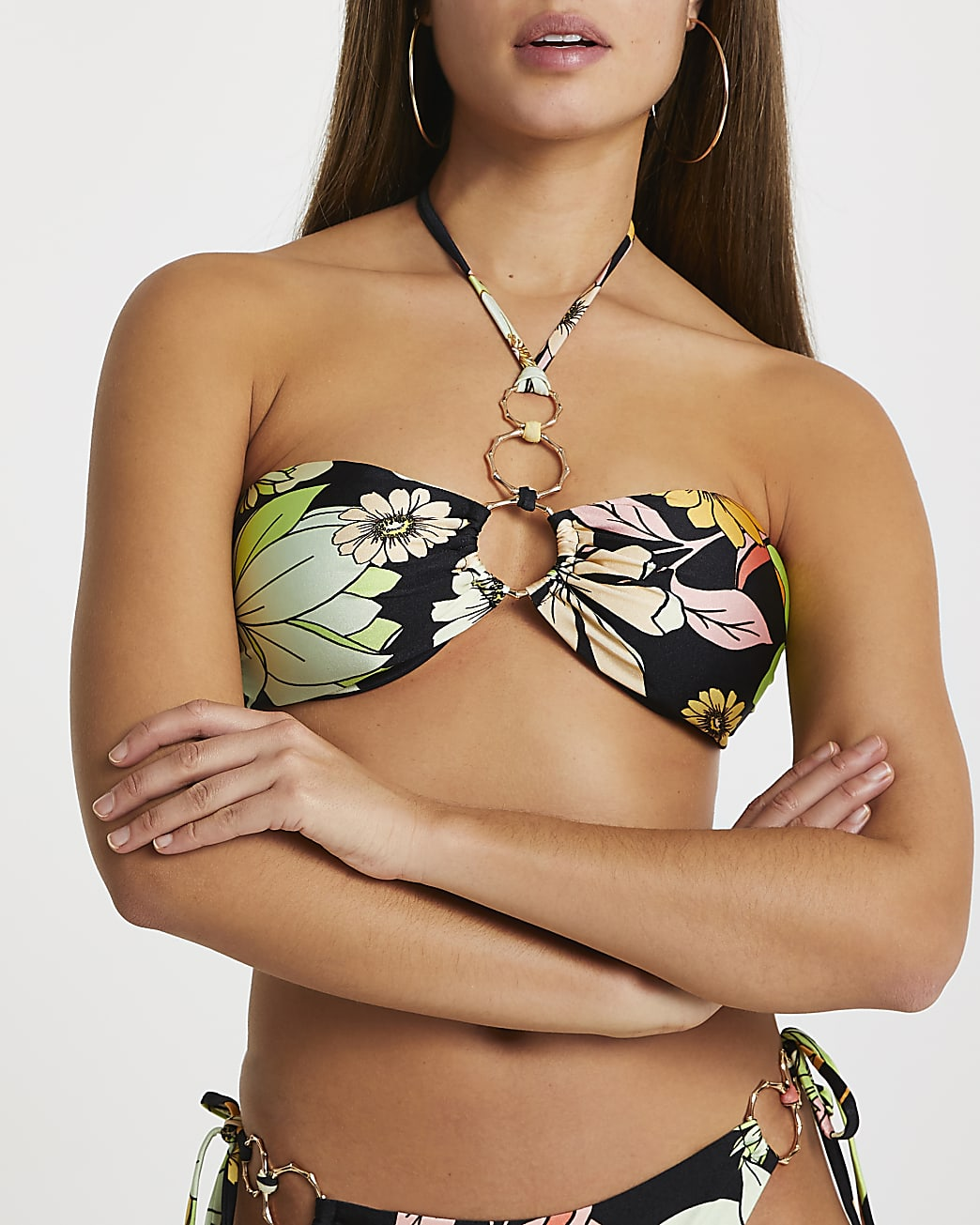 Green floral bandeau halter bikini top