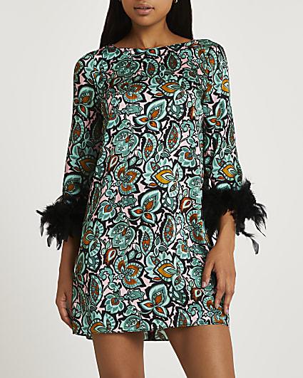 Green floral feather cuff mini dress
