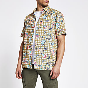 Groen slim fit overhemd met bloemen- en geoprint