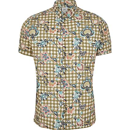 Green floral geo printed slim fit shirt