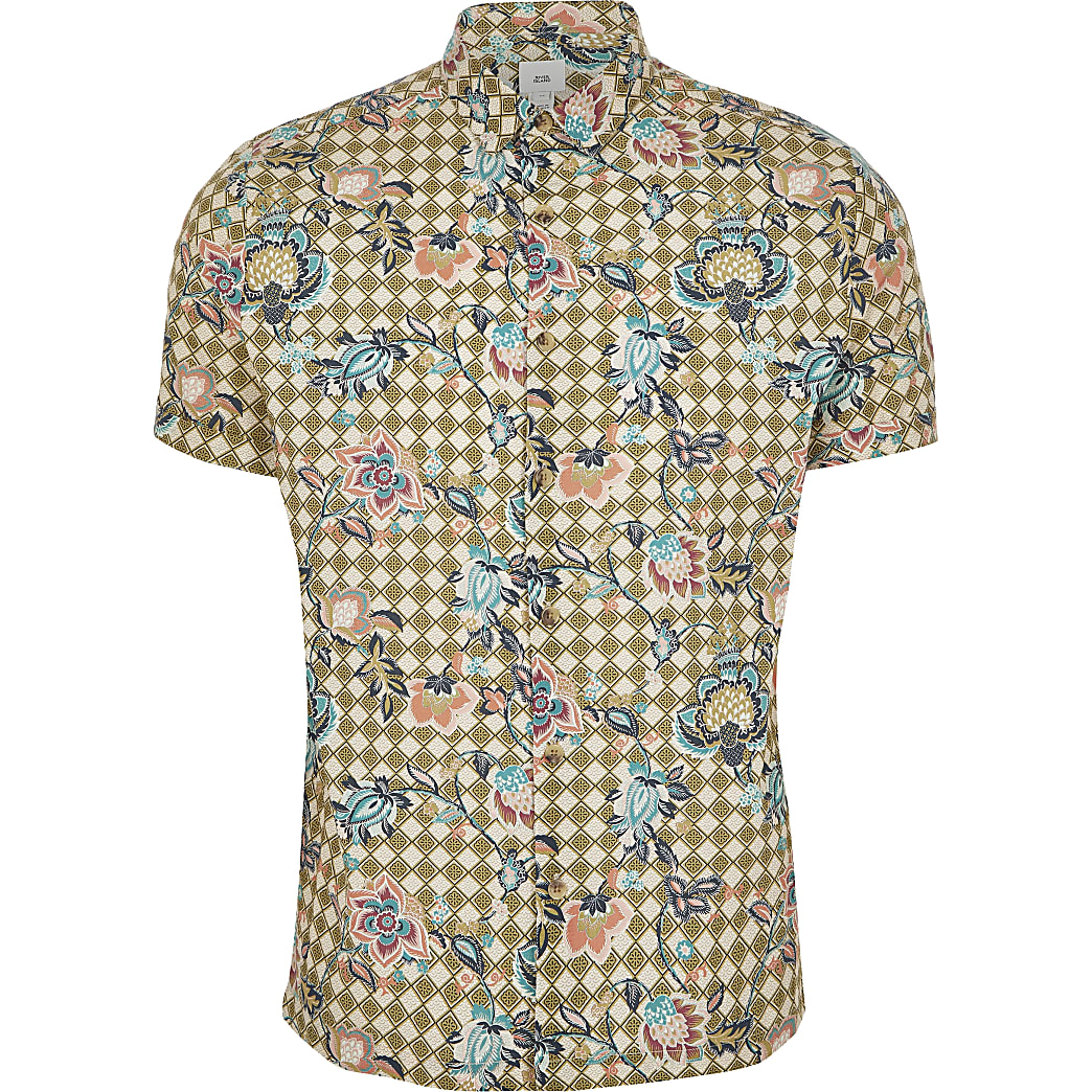 Green floral geo printed slim fit shirt