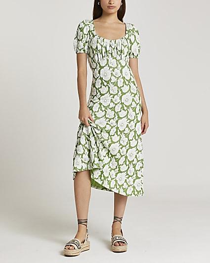 Green floral jacquard midi dress