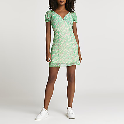 Green floral knot front mini dress