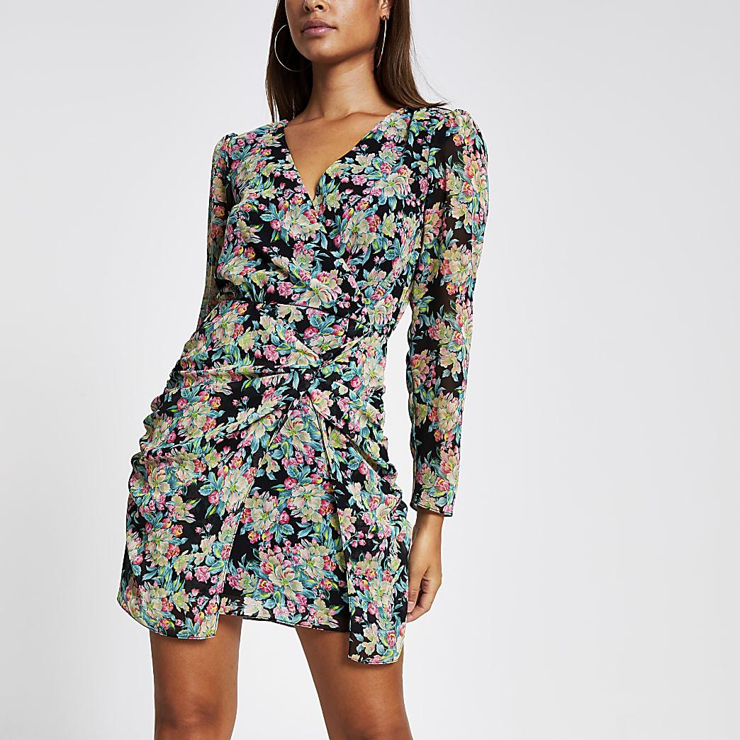 Green floral long sleeve sheer mini dress
