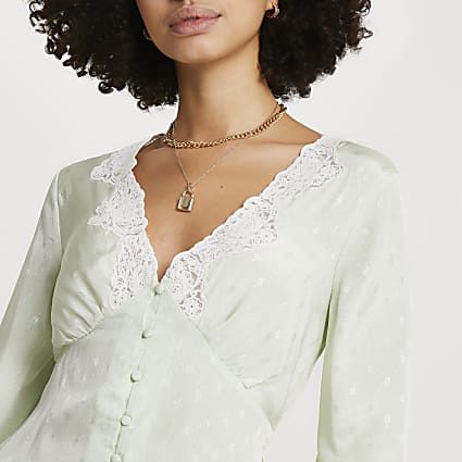 Green floral long sleeve tea blouse top