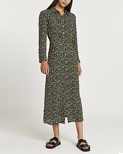 Green floral midi shirt dress
