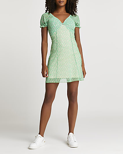 Green floral mini dress