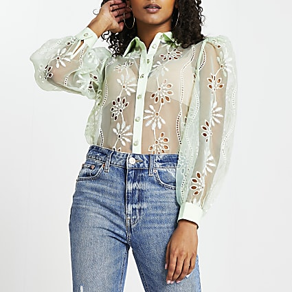 Green floral organza cutwork shirt