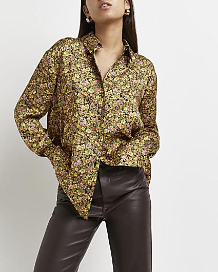 Green floral oversized shirt