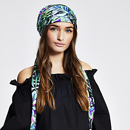 Green floral print headscarf