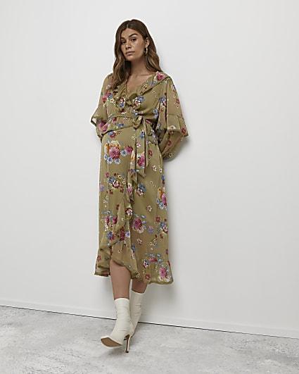 Green floral print maternity wrap dress