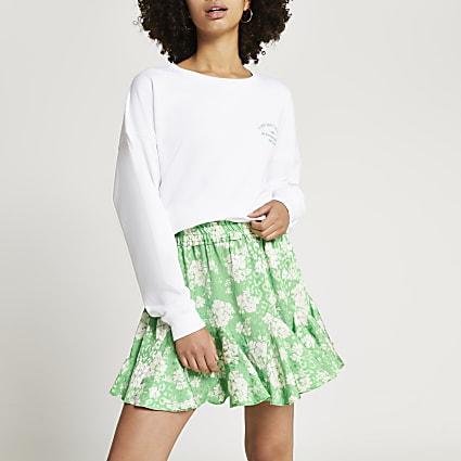 Green floral print mini skirt