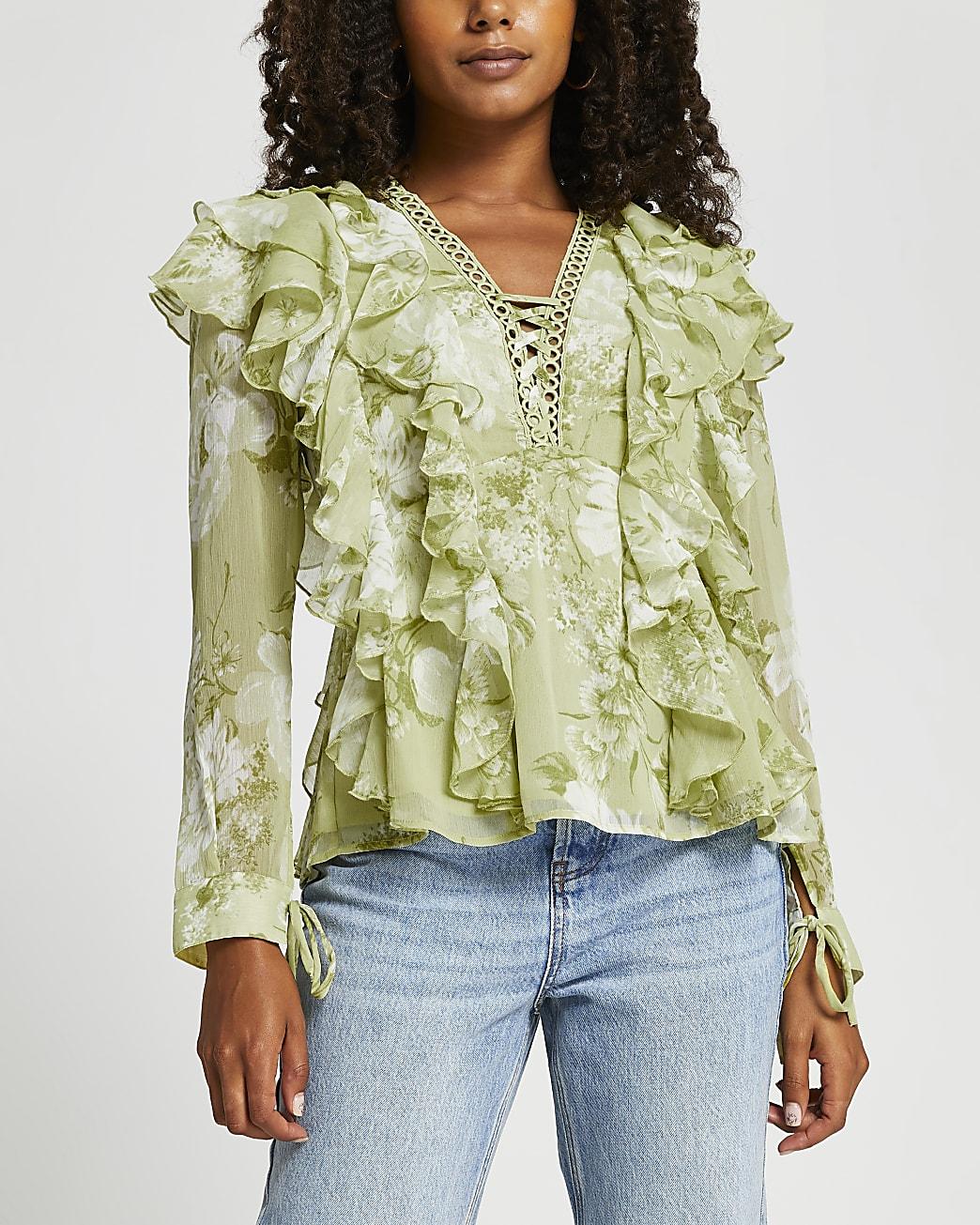 Green floral print ruffled blouse