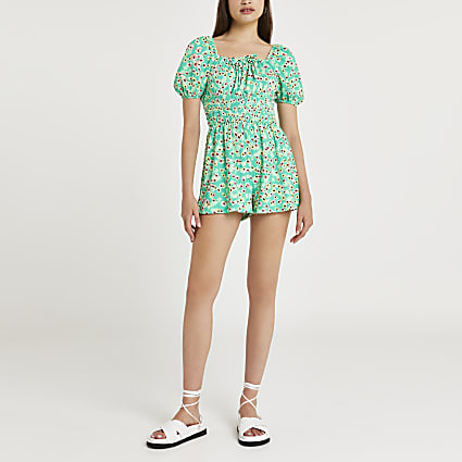 Green floral print shirred playsuit