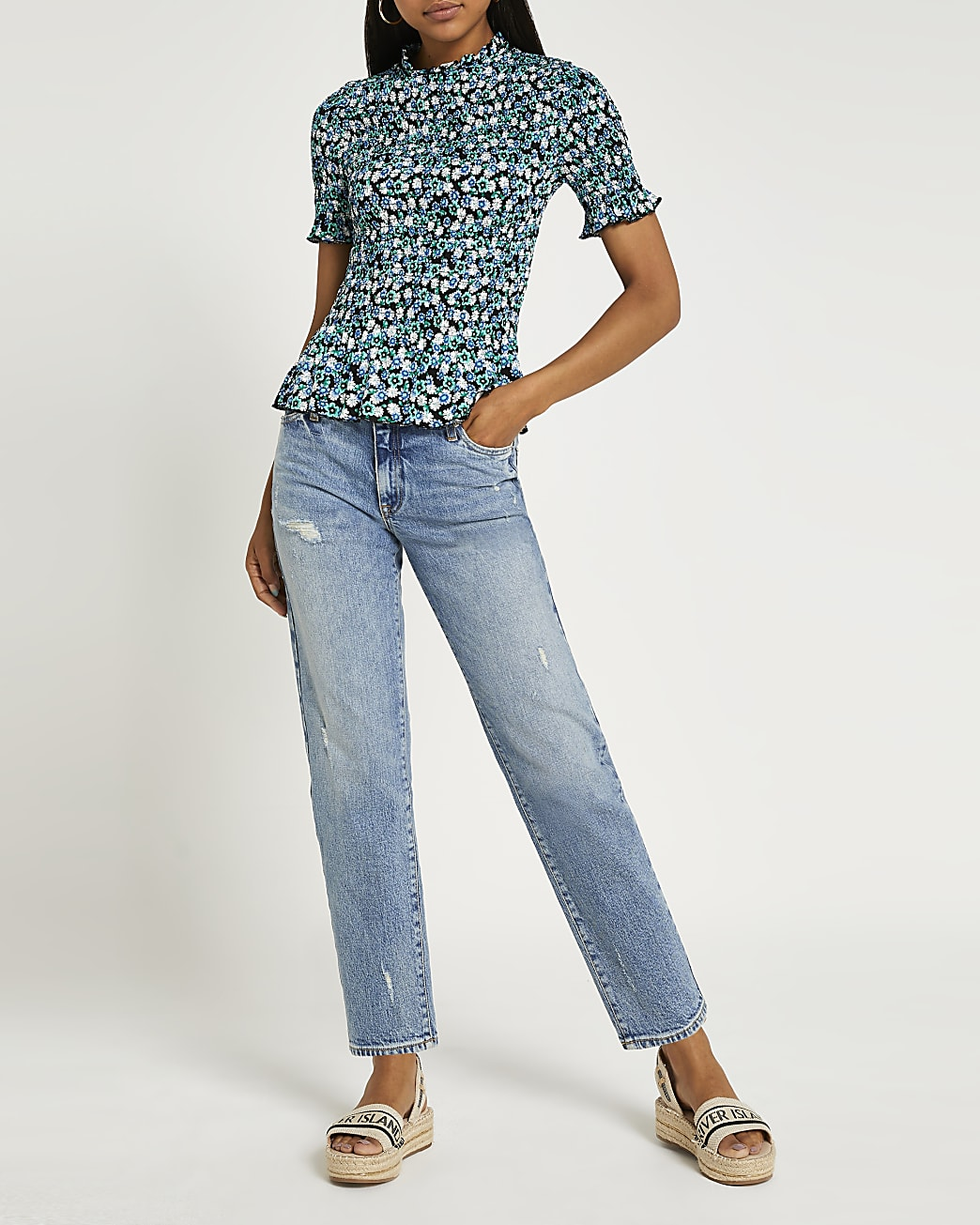 Green floral print shirred top